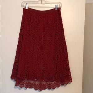 Anthropologie Skirts - Red lace skirt